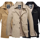 XL - XS FOR Mens Long Trench Coat Winter Jacket Coat Overcoat Outerwear FREE P&P