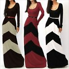 Women's Fall Winter Long Sleeve Geometric Striped Maxi Sexy Fashion Dress Tops