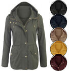 Women's Military Anorak Safari Jacket with Pockets and Hood Coats S-3X