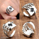 Men Biker 316L Stainless Steel Poker Spade Hand Skeleton Claw Finger Ring us9-12