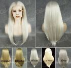 24' front lace long straight white light blonde gray grey golden synthetic wig