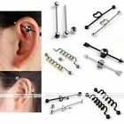 Pair 14G Steel Skull Heart Key Twist Bar Industrial Cartilage Ear Ring Piercing
