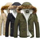 Men's WINTER Parka Jacket Fur Hooded Quilted Military Parker Trench Coat Jacket