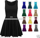 Womens Ladies Belted Sleeveless Franki Flared Party Skater Top Dress