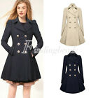 Fashion Womens Double-breasted Coat Slim Jacket Cotton Blend Trench Long Outwear