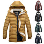 NEW Mens Designer Long Parka Winter Padded Jacket Casual Trench Coat Overcoat UK