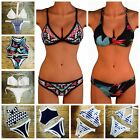 Women Lady High Neck Bikini Set Push Up Padded Bra Swimsuit Bandage Swimwear FO