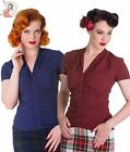 HELL BUNNY ROSINA BLOUSE TOP NAVY BLUE & BURGUNDY