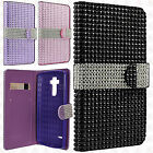 For At&t LG G Vista 2 Premium Leather Bling Diamond Wallet Pouch Flip Case Cover