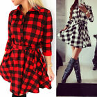 Womens Black RED Plaid Flannel Long Sleeve Waist Cotton Polyester Shirt Dress