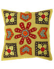 Embroidered Green Patch Work Covers Square Cushion Cover Cotton Pillow Cases