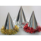 Party Hats Cone Foil Tinsel Asstd Gold or Silver Pack of 100 Christmas Party