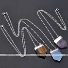 Natural Stone Sword Healing Bead Pendant White Gold Chain Necklace Women Jewelry
