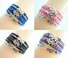 Fashion Cute Silver Tone Infinity Love Dog Paw Charms Leather Braided Bracelet