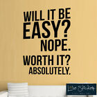Wall Stickers Worth It Fitness Ofice Gym Inspiration Quote Art Decals Vinyl Home