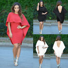 Women Sexy Poncho Winging Angel Cape Style Backless Party Evening Mini Dress New