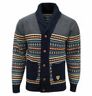 Soul Star Men's Stifler Nordic Striped Knitted Cardigan Navy