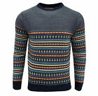 Soul Star Men's Stifler Nordic Striped Knitted Jumper Navy