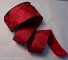 RED GLITTER PLAID CHECK WIRE WIRED EDGE RIBBON 63MM  5M,10M