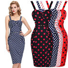 WOMEN'S POLKA DOT 1950'S PIN UP VINTAGE PENCIL WIGGLE DRESS SIZE 4-18