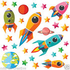 Space Rocket Ship Stars Planets Nursery Wall Stickers Kids Vinyl Wall Decals R10