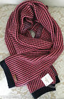 NWT Coach women tricolor tuckst scarf wrap wool cotton red black pink 12x72 $160