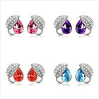 1 Pair Fashion Lady Rhinestone Crystal Leaf Teardrop Earrings Ear studs Jewelry