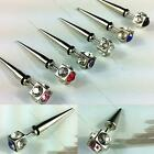 1 pair Crystal Stainless Steel Round Silvery Mens Womens Ear Studs GIFT