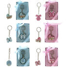 Blue Pink Baby Carriage Key Chain Favors Baby Shower Favor Boy Girl Lot Keychain