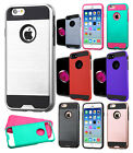 For Apple iPhone 6 / 6s Brushed Metal HYBRID Rubber Case Cover + Screen Guard