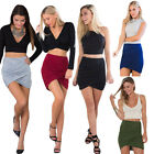 Stretch Draped High-Waist Irregular Hem Twist Wrap Front Ruched Mini Short Skirt