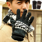 Winter Black Men Leather Gloves Driving Motorcycle Biker Full Finger Warm Mitten