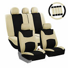 Car Seat Cover Beige Full Set with Steering Wheel, Belt Pad, 5 Head Rest Covers