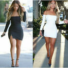 Sexy Off-shoulder Zipped Slit Mini Women Summer Beach Sexy Night Club Sundress