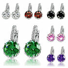 Women Girl Korean Crystal Earrings Silver plated Ear Stud Classic Jewelry
