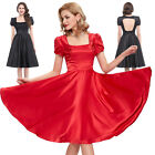 Womens Vintage Pinup SATIN Housewife 1950's Evening Swing Party Dress