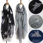 Fashion Chiffon Women Cat Print Neck Shawl Scarf Scarves Wrap Stole Warm Gift