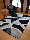 Silver Black Grey Modern Style Soft Thick Runner Rug Small Extra Large Mat Cheap