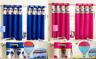 Thermal Blockout Ring Top Curtains With Hot Air Balloon Design In Blue Or Pink