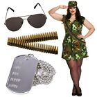 Ladies ARMY Fancy Dress + Bullet Belt Costume Soldier WW2 outfit SIZE 16 18 20