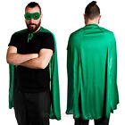 GREEN SUPERHERO CAPE AND MASK ADULT HALLOWEEN FANCY DRESS COSTUME SET TV FILM