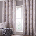 Modern Leaves Leaf Cotton Rich Eyelet Ring Top Lined Curtains, Grey Silver Green