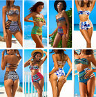 Sexy Women Bandage Bikini Push up Padded Bra High Waist Floral Swimsuit Swimwear