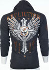 AFFLICTION Mens Hoodie Sweat Shirt Jacket NAPALM ATTACK Biker Gym MMA UFC $68