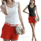 Elegant Blouse Sleeveless Casual Womens Summer Crochet Fitted Top Lace Vest Size
