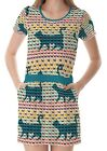 Multicolour Cats Curved Tails Women's Clothing Top Dress With Pockets
