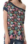 Navy Blue Tropical Flower Women's Clothing Top T-Shirts One Off Shoulder