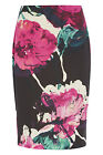Roman Originals - Floral Printed Pencil Skirt Ladies Fuschia