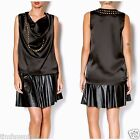 UMGEE DRAPE NECK Satin SLEEVELESS TUNIC TOP SOLID BLACK MAGENTA GOLD STUDDED S-L