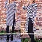2016 Lady 3/4 Sleeve Striped Bodycon Evening Party Cocktail Long Maxi Dress